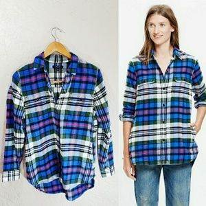 Madewell Boyfriend Flannel Plaid Button Up Top